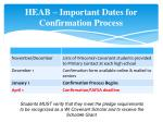 heab important dates for confirmation process