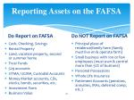 reporting assets on the fafsa