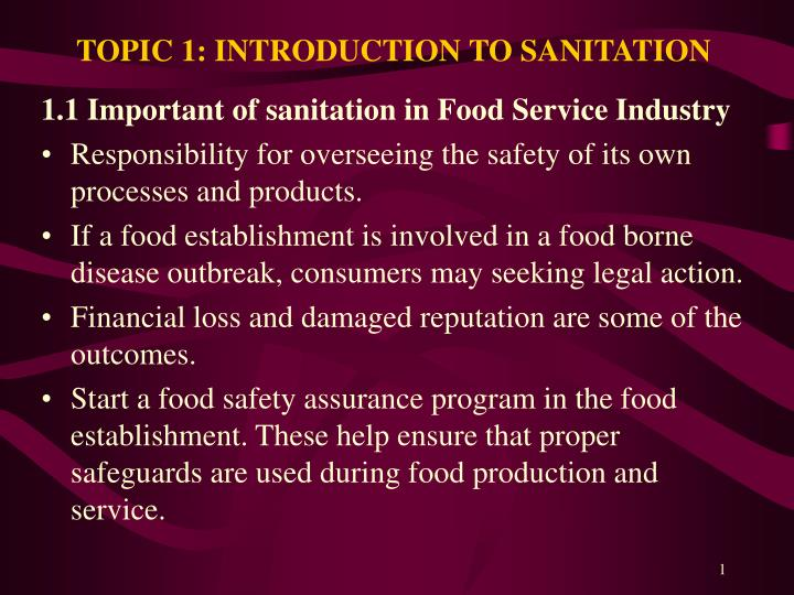 topic 1 introduction to sanitation n.