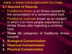 topic 3 food contamination factors