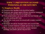 topic 7 prevention of food poisoning in the kitchen