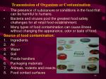 transmission of organism or contamination