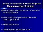 guide to personal success program communication training