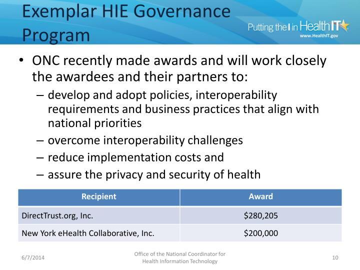 Exemplar HIE Governance