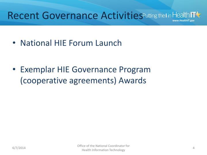 Recent Governance Activities