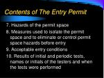 contents of the entry permit1