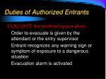 duties of authorized entrants1