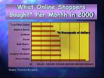 what online shoppers bought per month in 2000