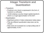 integer transform and quantization