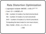 rate distortion optimization