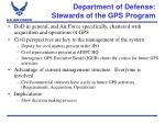 department of defense stewards of the gps program
