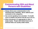 communicating with and about persons with disabilities1