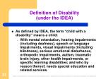 definition of disability under the idea