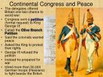 continental congress and peace