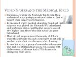video games and the medical field