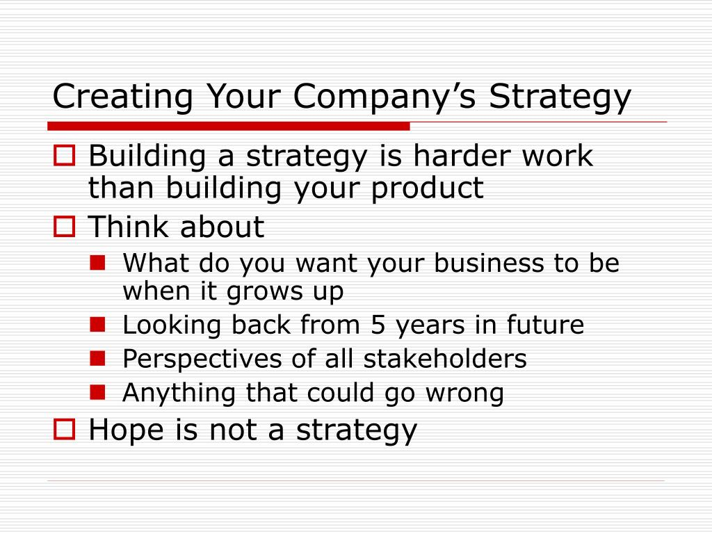 Creating Your Company's Strategy
