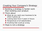 creating your company s strategy
