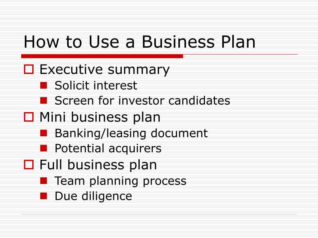 How to Use a Business Plan