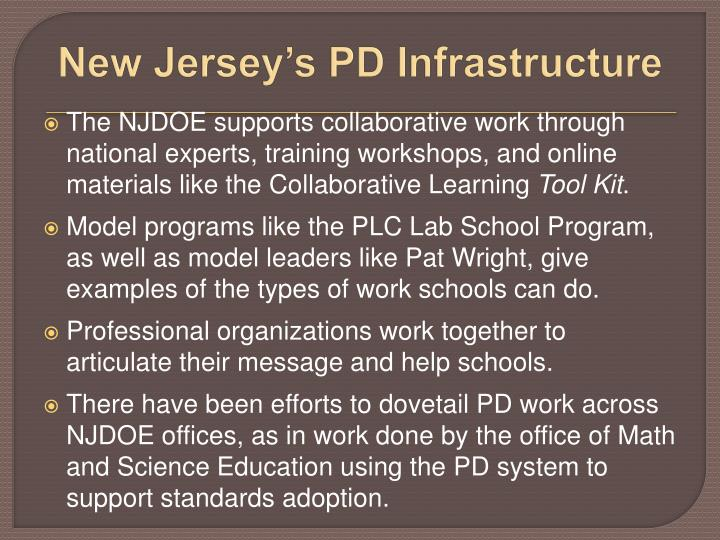 New Jersey's PD Infrastructure