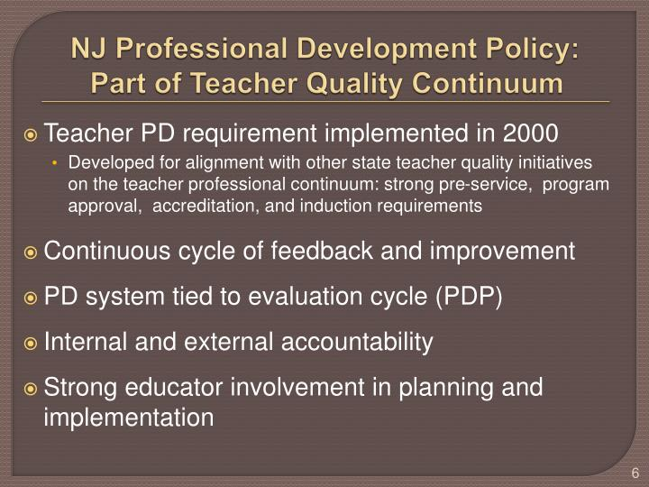 NJ Professional Development Policy: