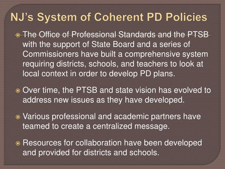NJ's System of Coherent PD Policies