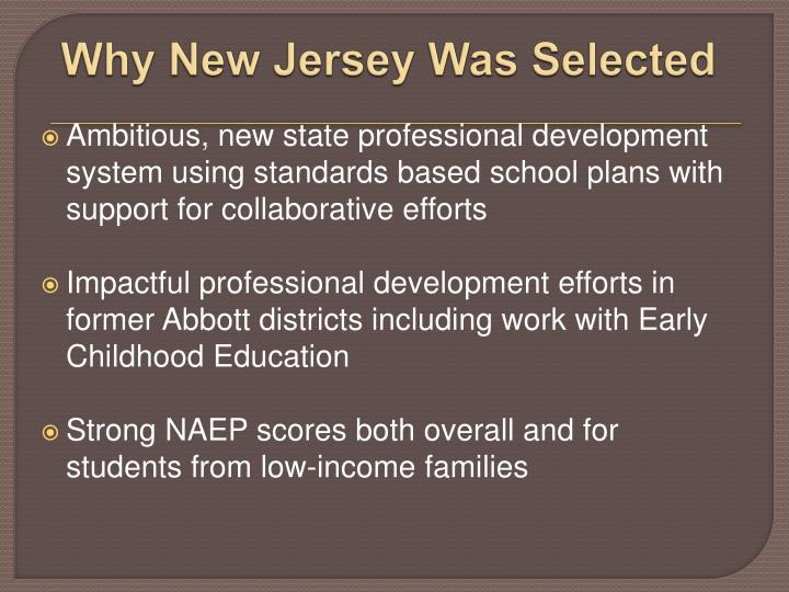 Why New Jersey Was Selected