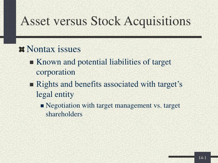asset versus stock acquisitions n.