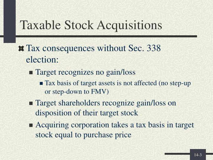 Taxable stock acquisitions