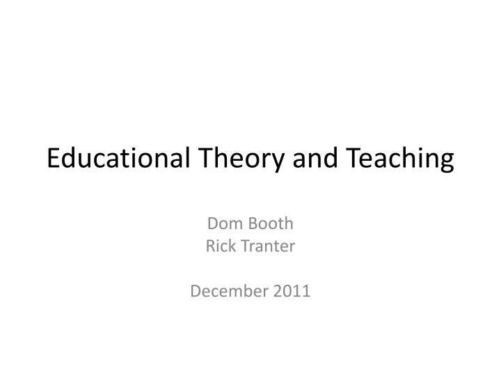 educational theory and teaching n.