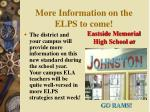 more information on the elps to come