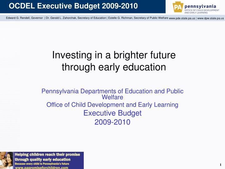 investing in a brighter future through early education n.