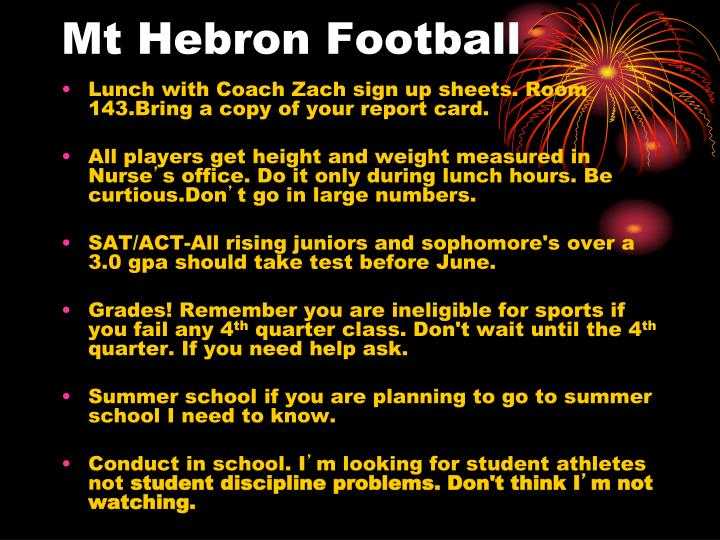 mt hebron football n.
