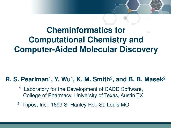 cheminformatics for computational chemistry and computer aided molecular discovery n.