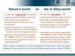 nature s world vs the in silico world