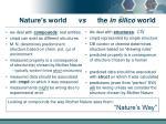 nature s world vs the in silico world1