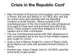 crisis in the republic cont
