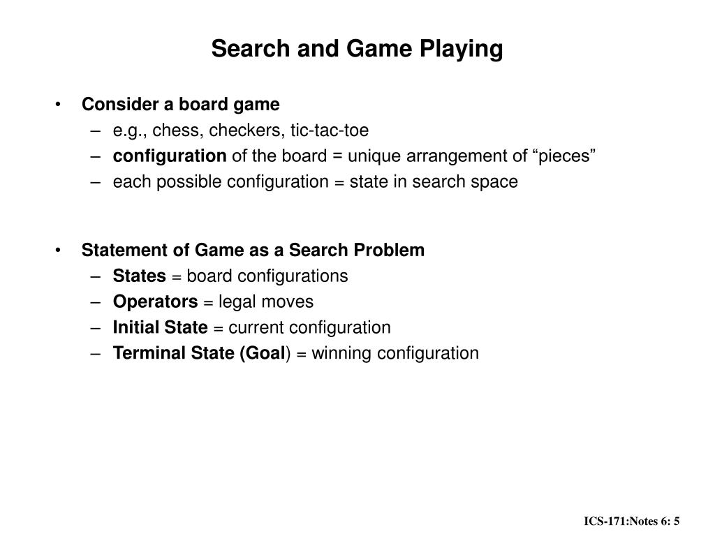 Search and Game Playing