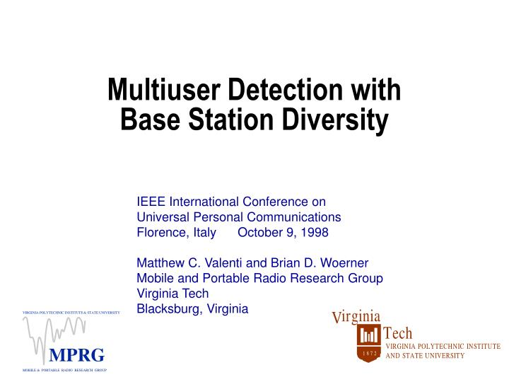 multiuser detection with base station diversity n.