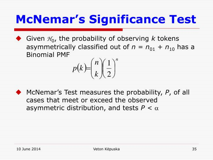 McNemar's Significance Test