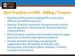 best practices in ems billing finance