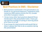best practices in ems disclaimer