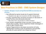 best practices in ems ems system designs