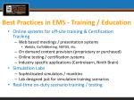 best practices in ems training education