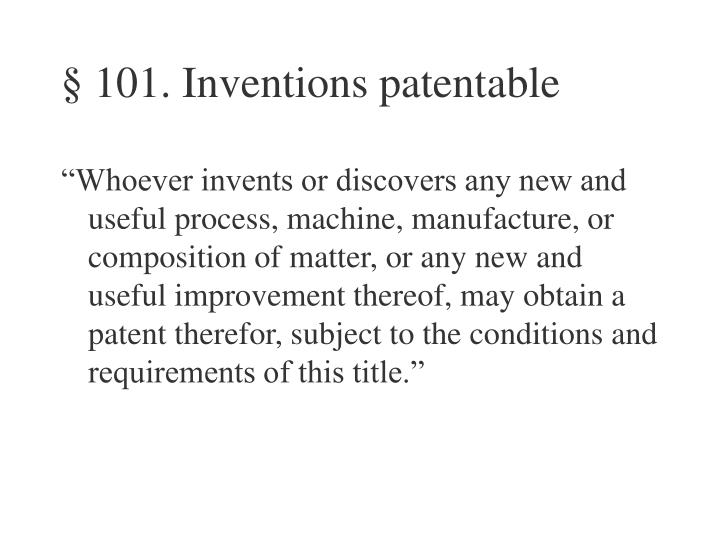 101 inventions patentable