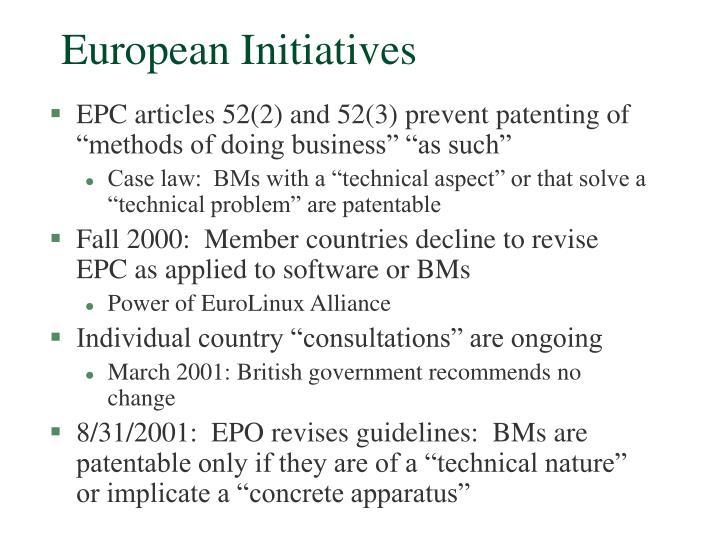 European Initiatives
