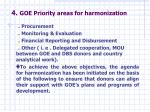 4 goe priority areas for harmonization