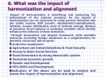 6 what was the impact of harmonization and alignment