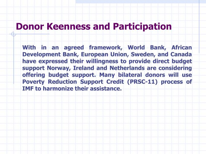 Donor Keenness and Participation