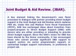 joint budget aid review jbar