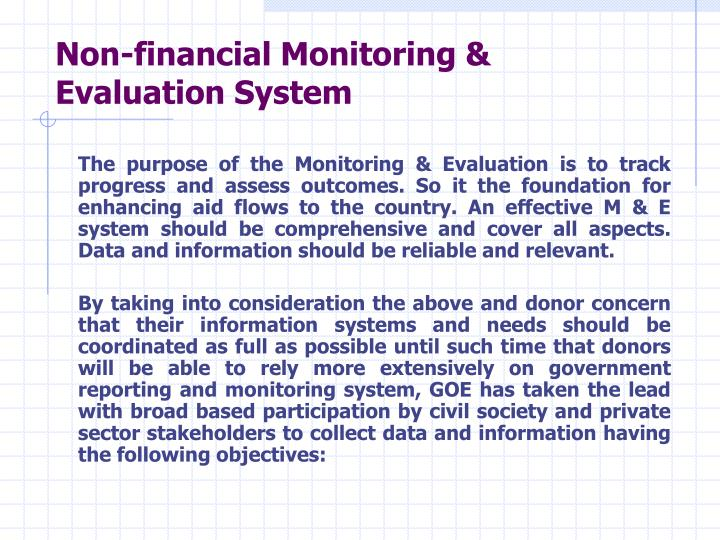 Non-financial Monitoring & Evaluation System